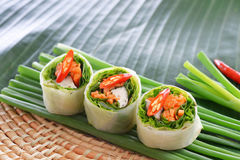 Fresh Chinese Traditional Spring rolls food Stock Images