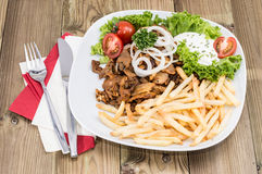 Fresh Chips with Kebab meat Stock Photography