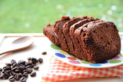 Fresh chocolate cake with coffee beans Royalty Free Stock Photo