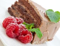 Fresh chocolate cake with raspberries Royalty Free Stock Images