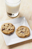 Fresh Chocolate Chip Cookies with milk Royalty Free Stock Photos