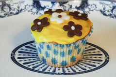 Fresh chocolate chip muffin close up. Stock Images