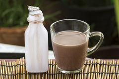 Fresh chocolate Milk in a glass Stock Photo
