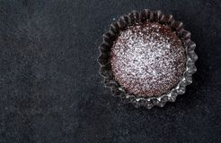 Fresh chocolate muffin with powdered sugar Royalty Free Stock Photography