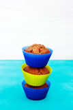 Fresh chocolate muffins in silicone holders Stock Photos