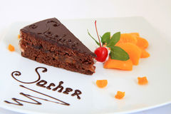 Fresh chocolate sacher cake Stock Photo