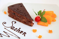 Fresh chocolate sacher cake Stock Photography