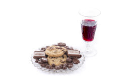 Fresh Chocolate Treats and Dessert Wine Royalty Free Stock Image
