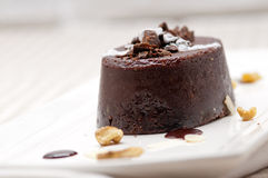 Fresh chocolate walnuts cake Royalty Free Stock Photo