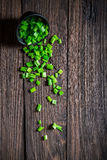 Fresh chopped chives in small bowl Stock Photos