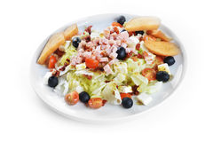 Fresh chopped ham salad. With cheese on  white plate Royalty Free Stock Photography