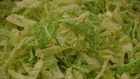 Fresh chopped kale leaves stock footage