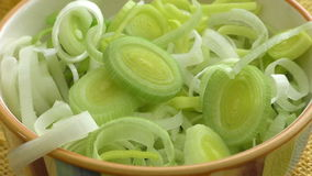 Fresh chopped leek in a ceramic bowl isolated. Sliced leeks. stock video footage