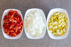 Fresh chopped vegetable cooking ingredients Royalty Free Stock Photos