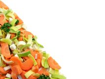 Fresh chopped vegetables on white background Stock Photos