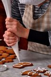 Fresh christmas cookies preparation cream. Royalty Free Stock Photography