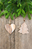 Fresh christmas tree branch with vintage decoration Stock Photo