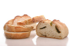 Fresh ciabatta bread with onion against a white background Stock Photography
