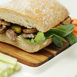 Fresh ciabatta with mushrooms and beef Royalty Free Stock Images