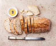 Fresh ciabatta with olive oil and parmesan cheese Royalty Free Stock Images