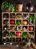 Fresh cider beer ingredients in cellar Royalty Free Stock Photos