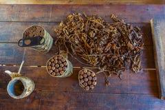 Fresh cigar tobacco leaves, Cuban culture royalty free stock image