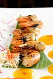 Fresh cilantro marinated Black Tiger shrimps Royalty Free Stock Photos