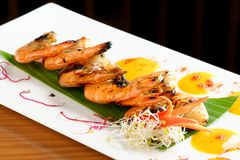 Fresh cilantro marinated Black Tiger shrimps Stock Photos