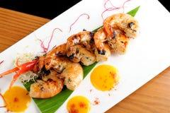 Fresh cilantro marinated Black Tiger shrimps Royalty Free Stock Photography