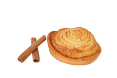 Fresh cinnamon roll on white Stock Photo