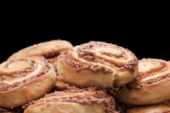 Fresh Cinnamon Rolls. Closeup on Black Background Royalty Free Stock Image