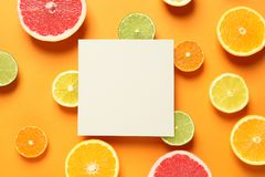 Fresh citrus fruits and blank card on color background, flat lay. Space for text royalty free stock photography