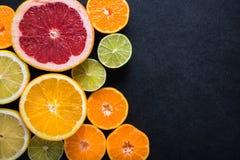 Fresh citrus fruits, border background Royalty Free Stock Image