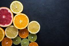 Fresh citrus fruits, border background Stock Photo