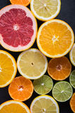 Fresh citrus fruits, border background Stock Photos