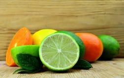 Fresh citrus fruits. Citrus fruits on a desk background Stock Photography