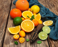 Fresh citrus fruits and old juicer Stock Images