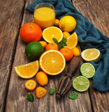 Fresh citrus fruits and old juicer Royalty Free Stock Photos