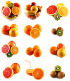 Fresh citrus fruits orange kiwi banana grapefruit Stock Photos