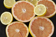 Fresh citrus fruits on a table Royalty Free Stock Image