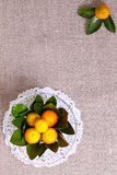 Fresh citrus fruits in vase on the linen cloth Royalty Free Stock Photo