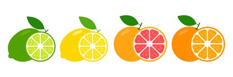 Free Fresh Citrus Fruits Whole And Halves Of Lime, Lemon, Grapefruit And Orange. Royalty Free Stock Photo - 184353295
