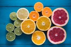 Fresh citrus half cut fruits overhead Stock Photo