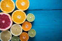 Fresh citrus half cut fruits overhead Stock Image