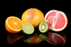 Fresh citrus isolated on black background Stock Photo