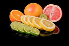 Fresh citrus isolated on black background Royalty Free Stock Photography
