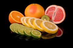 Fresh citrus isolated on black background Royalty Free Stock Images