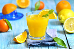 Fresh citrus juice in a glass. Stock Photo