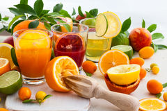 Fresh citrus juices Royalty Free Stock Photos