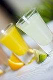 Fresh citrus juices with fruits. On a blur background Stock Photo